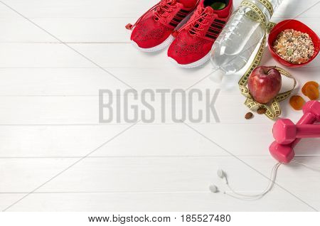 red bright snickers, oatmeal and apple, earbugs, additional space for text on side