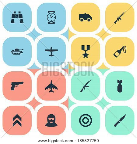Vector Illustration Set Of Simple Battle Icons. Elements Kalashnikov, Molotov, Target And Other Synonyms Offender, Aim And Emergency.