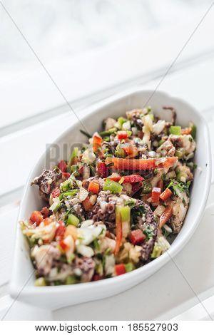 octopus fresh seafood mixed marinated vegetable salad