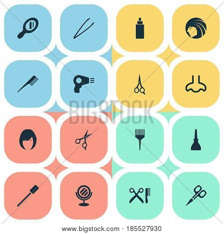 Vector Illustration Set Of Simple Beauty Icons. Elements Crest, Scissors, Serum And Other Synonyms Comb, Salon And Nail.