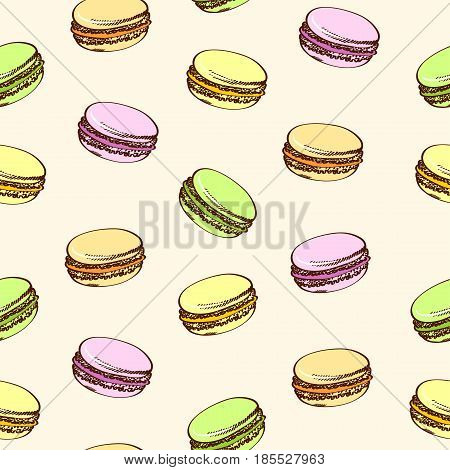 Seamless beige background with colored macaroons. Pasty traditional sweet macaroons biscuit. Cartoon style.