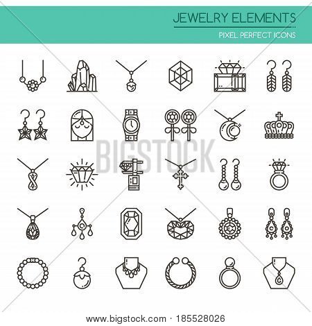 Jewelry Elements ,Thin Line and Pixel Perfect Icons