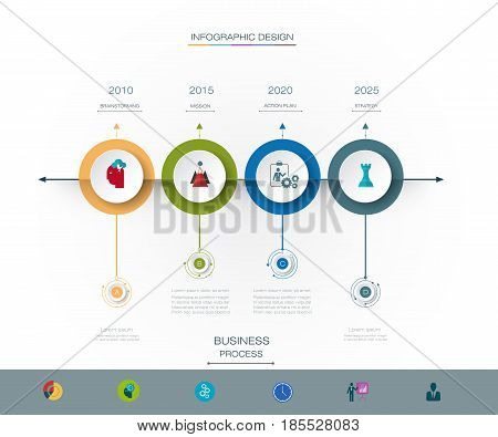 Vector infographics timeline design template with 3D paper label and graph 4 steps options. For workflow, layout, diagram infograph, business infographic, flowchart, process diagram, time line, chart