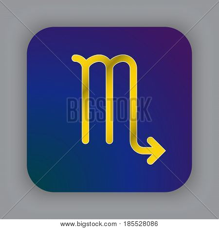 Scorpio Zodiac Vector Sign, Horoscope Symbol, Astrology Line Icon, Flat Button