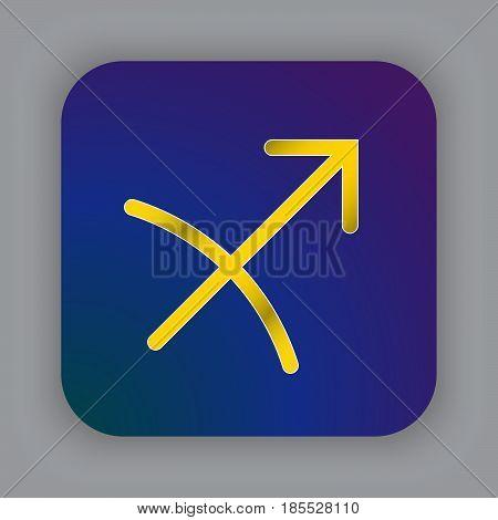 Sagittarius Zodiac Vector Sign, Horoscope Symbol, Astrology Line Icon, Flat Button