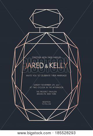 Vector Modern Design Template For Wedding Invitation.  Geometric Perfume Bottle. Rose Gold Trend