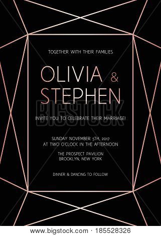 Vector Modern Design Template For Wedding Invitation. Art Deco Geometric Rose Gold Pattern On Black