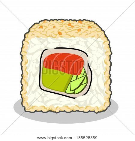 Vector illustration of cut fuji salmon sushi roll with cucumber, nori, salmon, tobico caviar, cream cheese and sesame isolated on a white background.