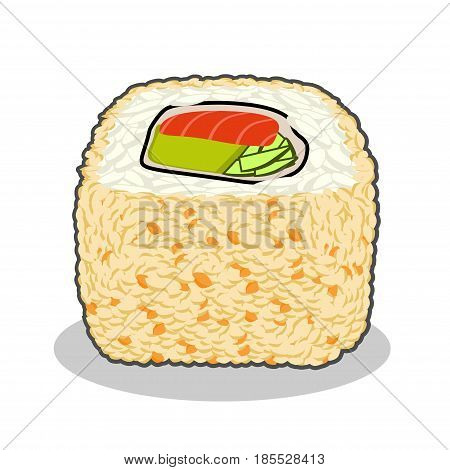 Vector illustration of yummy fuji salmon sushi roll with cucumber, nori, salmon, tobico caviar, cream cheese and sesame isolated on a white background.