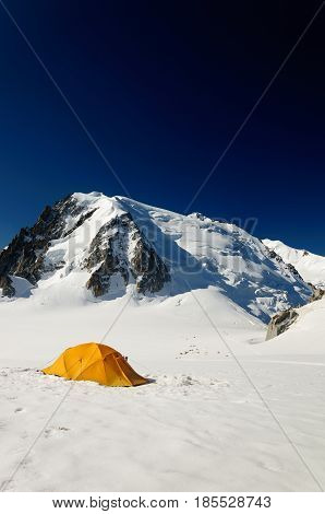 Touristic tent on big mountain in valey near Mont Blanc France