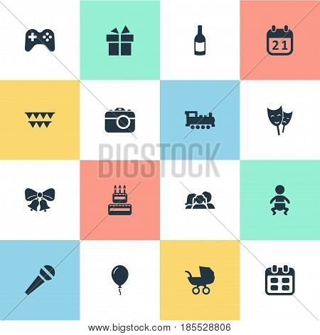 Vector Illustration Set Of Simple Holiday Icons. Elements Mask, Domestic, Ribbon And Other Synonyms Jingle, Camera And Photo.