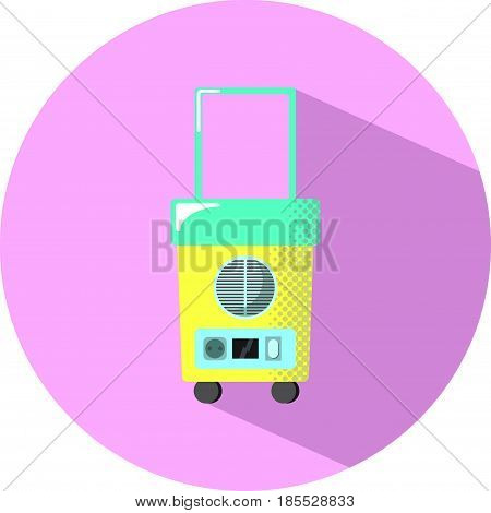 Travel fridge with shadow. Summer holiday electric equipment flat style vector illustration. Small wheeled fridge for beer. Weekend travel food storage icon. Car refrigerator. Weekend travel appliance