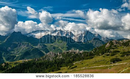 Panoramic view from the top of the Marmolada . Dolomites. South Tyrol. Italy