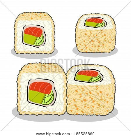 Collection of the fuji salmon sushi roll with cucumber, nori, salmon, tobico caviar, cream cheese and sesame from different angles . Vector set isolated on a white background.