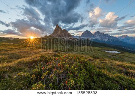 Passo Guai in Dolomite Italy at sunset