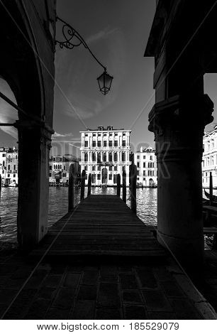 Grand Canal in Venice with lantern, Italy