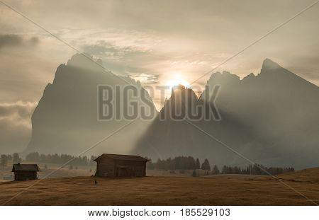 Alpe di Siusi mountain ridge in Dolomites mountains. Italy alpine region South Tyrol ski resort. Beautiful sunrising scene in Alps. Sunrise time.