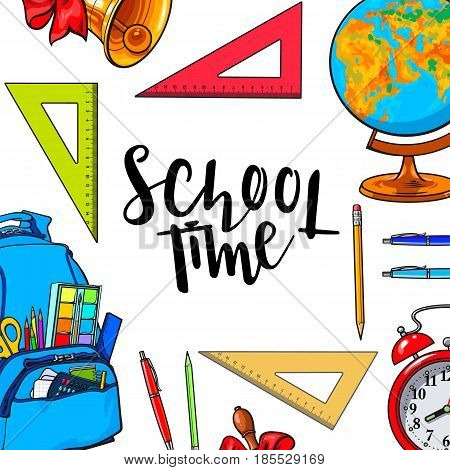 Square frame, banner with school items, backpack and round place for text, sketch vector illustration on white background. Hand drawn school bag bell globe clock frame with round place for text