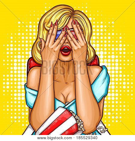 Vector pop art illustration of a excited blond woman sitting in ciema chair, watching on the movie screen and covering her face with her hands
