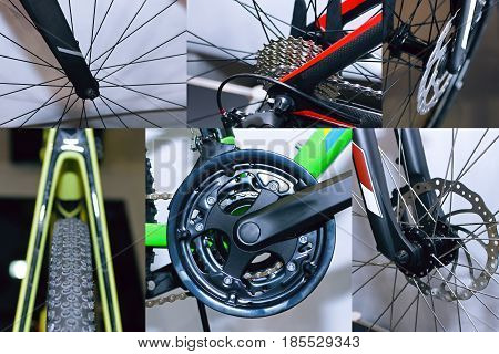 Bicycle parts collage of road bike, mountain bike, brake disc, handlebar chain