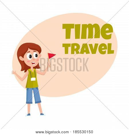 Travel time poster, banner, postcard design with pretty girl tour guide, cartoon vector illustration on white background. Travel agency, tour ad design template with cartoon, comic female guide
