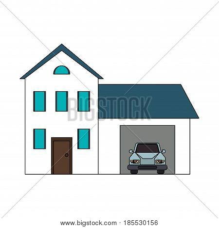 colorful image cartoon facade two house floors with garage and car vector illustration