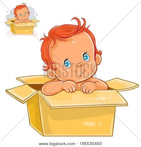 Vector illustration of little baby with white skin sitting in box. The appearance of the long-awaited child