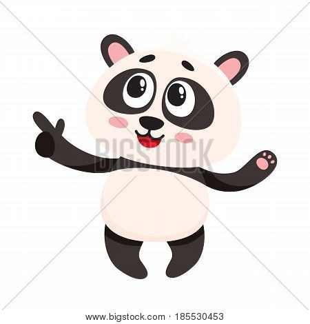 Funny smiling baby panda character pointing to something with finger, cartoon vector illustration isolated on white background. Cute little panda bear character, mascot pointing. showing something