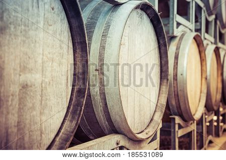 Old wine barrels with vintage filter