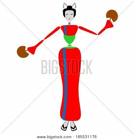 Geisha dance with fan in the hands - Step 7.