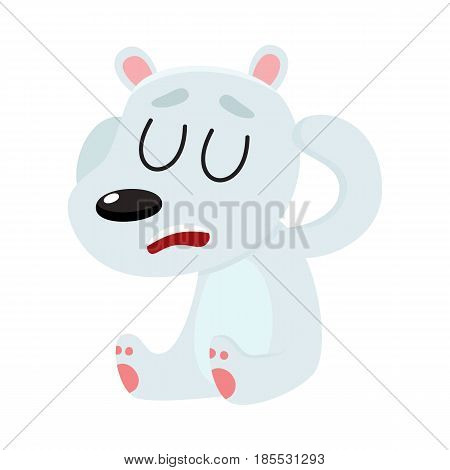 Baby polar bear having headache, sitting with closed eyes, holding its head, cartoon vector illustration isolated on white background. Little white, polar bear having headache, head ache