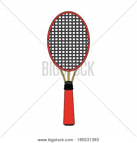 colorful image cartoon tennis racquet with handle vector illustration