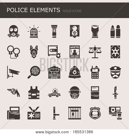 Police Elements Thin Line and Pixel Perfect Icons