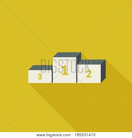 Prize podium with long shadow. Vector winner pedestal on yellow background.