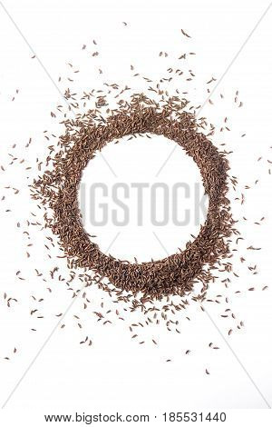 Spices for meat dishes. Whole grains Zira. White background. isolated