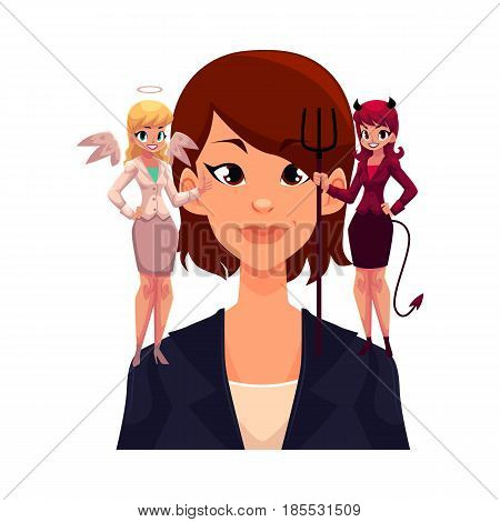 Business woman with angel and devil on shoulders, decision making concept, cartoon vector illustration isolated on white background. Woman trying to make decision, choice listening to angel and demon