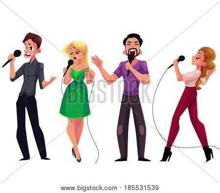 Men and women singing karaoke, holding microphones, cartoon vector illustration isolated on white background. Full length portrait of male and female karaoke singers, competition, party, celebration