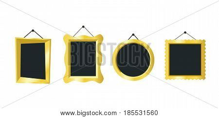 Golden frames hanging on the wall. Vector simple illustration of different picture frames.