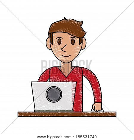 color pencil cartoon front view half body guy with laptop computer vector illustration
