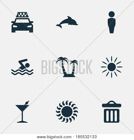 Vector Illustration Set Of Simple Seaside Icons. Elements Taxi, Hot, Cocktail And Other Synonyms Trash, Sunshine And Sun.