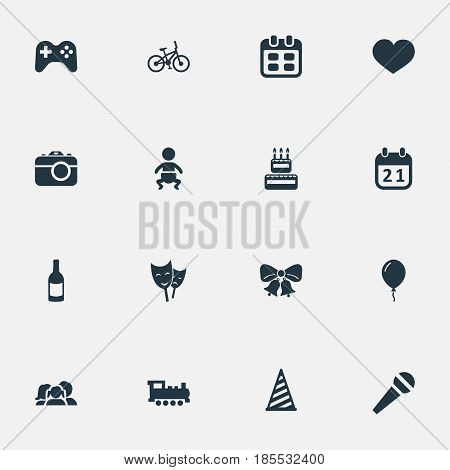 Vector Illustration Set Of Simple Holiday Icons. Elements Infant, Bicycle, Confectionery And Other Synonyms Fizz, Feelings And Family.
