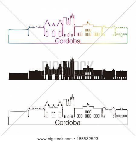 Cordoba Ar Skyline Linear Style With Rainbow