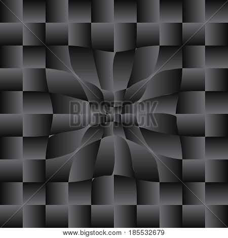 Pattern of squares. Black and white. The illusion of movement. Vector illustration