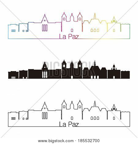 La Paz Skyline Linear Style With Rainbow