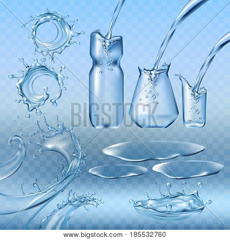 Set vector illustrations water splashes and flows, streams of various shapes, water pouring into a bottle, a jug, a glass. Design elements