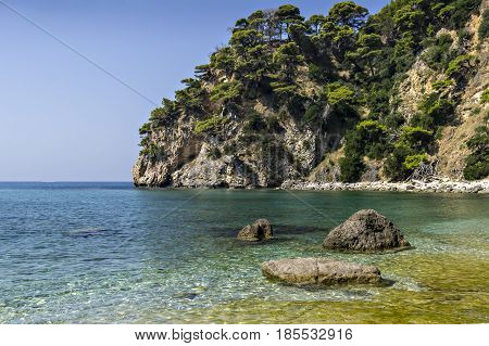 Ionian rock seashore in Greece near Parga