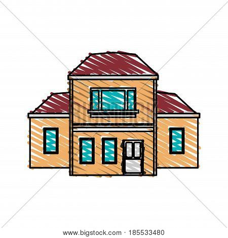 color crayon stripe cartoon facade two house floors with several rooms vector illustration