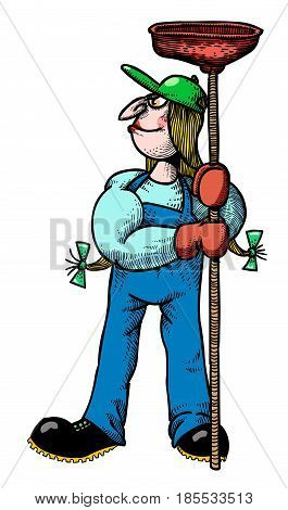 Cartoon image of female plumber. An artistic freehand picture.