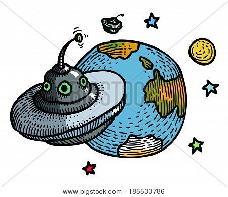 Cartoon image of flying saucer and planet. An artistic freehand picture.