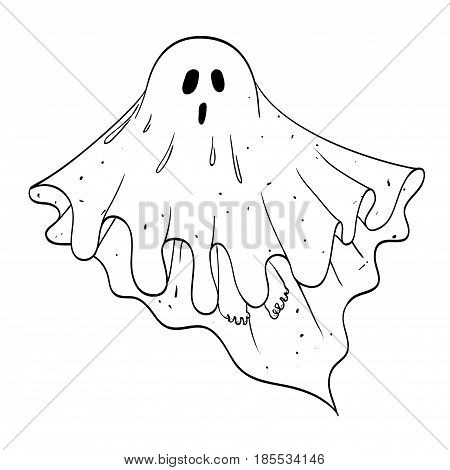 Cartoon image of ghost. An artistic freehand picture.